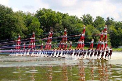 Water skiing team breaks human pyramid record