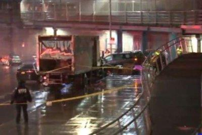 Car jumps busy sidewalk in NYC, killing one, injuring six