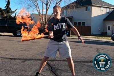 Idaho man flips flaming sword 57 times in 30 seconds