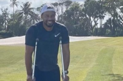 Tiger Woods shares photo of himself on crutches amid recovery from crash