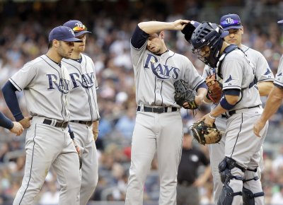 Tampa Bay Rays' Hellickson hit in head