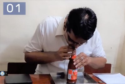 Man chugs bottle of ketchup to set Guinness World Record