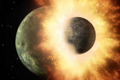 Ancient lunar collision explains the moon's two faces