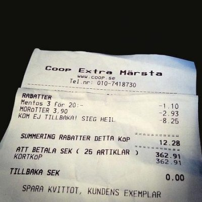 Swedish store probing 'Sieg heil' receipts