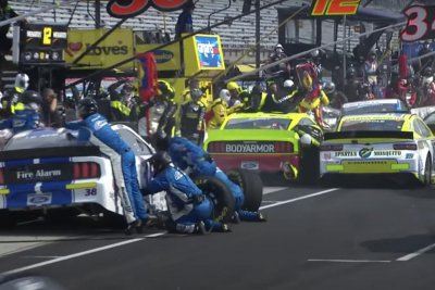 Ryan Blaney crew member hit during NASCAR pileup