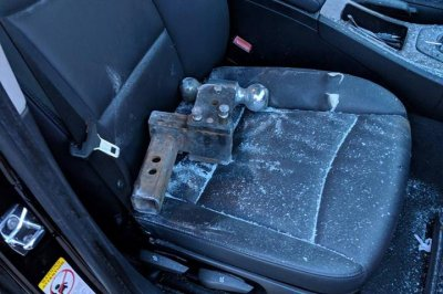 Trailer hitch crashes through Texas driver's windshield