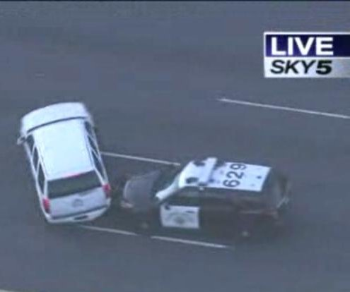 Skilled police driver spins SUV to end slow-speed chase in Calif.