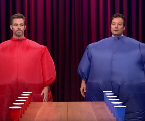 Chris Pine challenges Jimmy Fallon to a game of Inflatable Flip Cup on 'Tonight Show'
