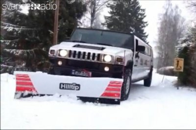 Swedish company plows snow with Hummer limousine
