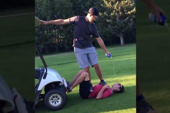 Golfers invent new beer body surfing sport at Canadian course