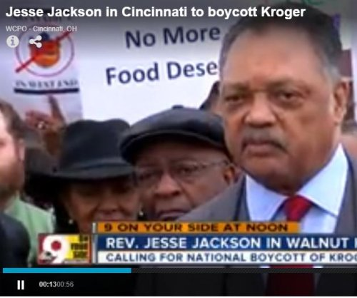 Jesse Jackson protests Cincinnati-based Kroger at HQ