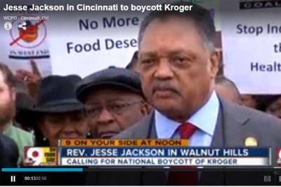 Jesse Jackson protests Cincinnati-based Kroger at HQ