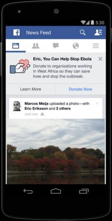 Facebook adds Ebola charity button