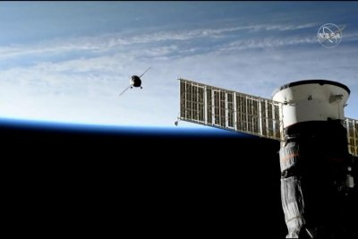 Unmanned spacecraft successfully docks at space station on second try
