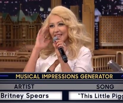 Christina Aguilera impersonates Britney Spears on 'Tonight Show'