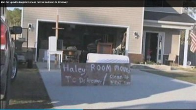 Georgia soldier moves daughter's messy bedroom to driveway on Monday