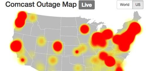 Comcast Outages Hit TV Internet Customers Nationwide UPIcom - Internet outage map of the us