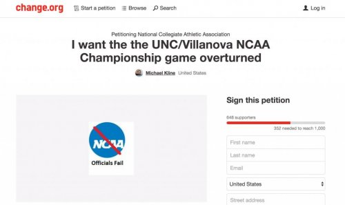 North Carolina fan petitions NCAA to overturn Villanova win