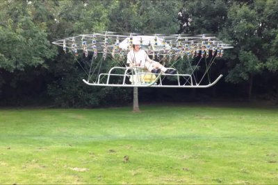 54-propeller 'super drone' dubbed 'the Swarm' takes off with man aboard