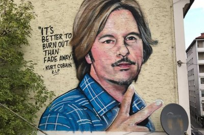 Bizarre mural depicts David Spade next to Kurt Cobain quote