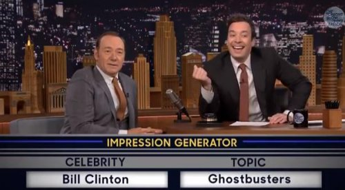 Kevin Spacey does 'Ghostbusters' song as Bill Clinton