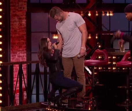Nina Dobrev dances close to Tim Tebow on 'Lip Sync Battle'