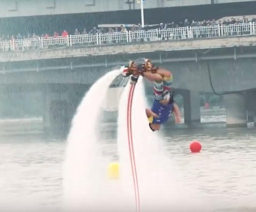 Chinese man sets world record for water jet pack backflips