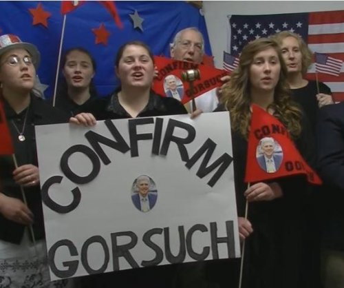 Ensemble performs songs backing Neil Gorsuch in front of Supreme Court