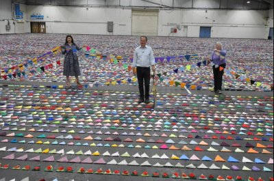 79,001 flags strung together for world's largest knitted bunting