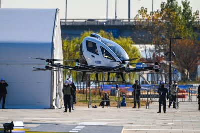 Flying taxi takes off over Seoul in demonstration flight