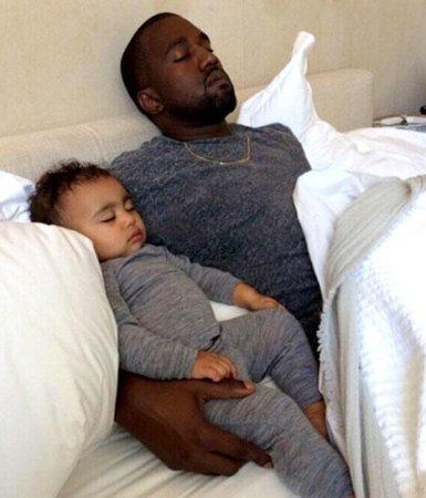 Kim Kardashian shares photo of Kanye West sleeping with baby North