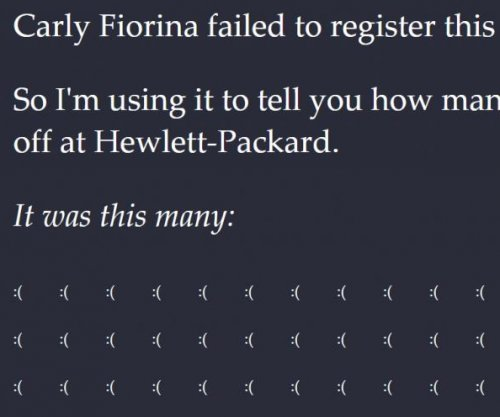 Person uses CarlyFiorina.org domain to show the HP layoffs under her tenure