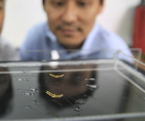 Water insects inspire tiny jumping robot