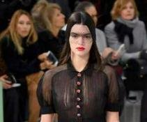 Kendall Jenner models sheer top at Chanel's Paris Fashion Week show