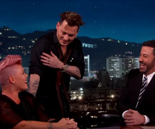 Pink meets celebrity crush Johnny Depp on 'Jimmy Kimmel Live!'