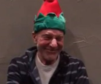 Patrick Stewart wears dancing Christmas hat in viral clip