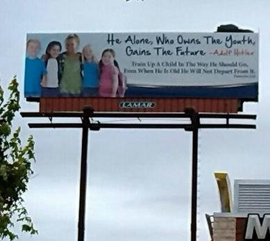 Alabama church group pulls billboard quoting Hitler
