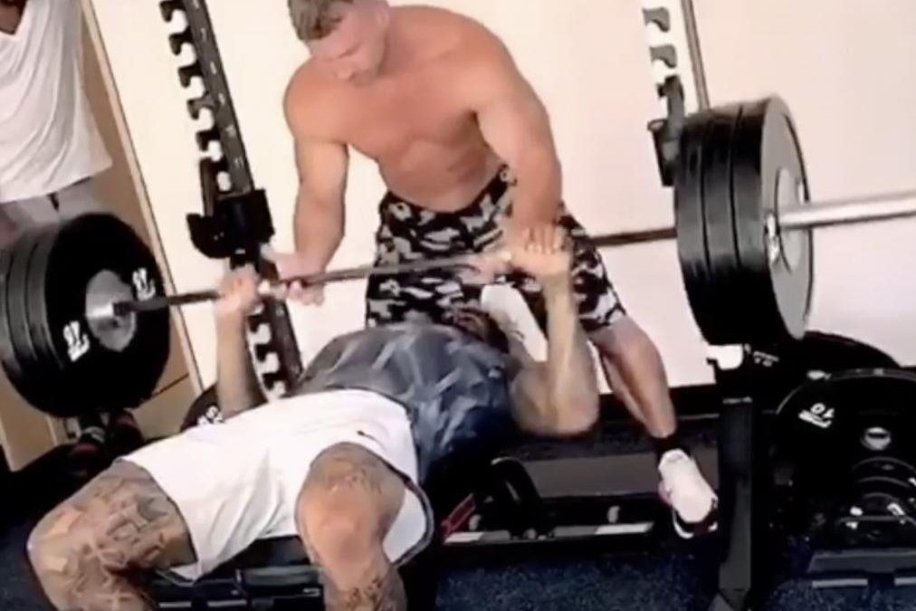 Watch Obj Shows Off Muscles Does Bench Press With Trainer S Help