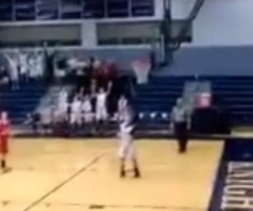 Eighth-grader clinches basketball championship with three-quarters court shot