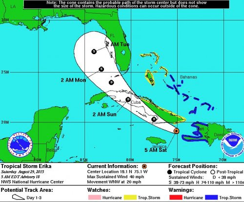 Latest track has Tropical Storm Erika shifting west, weakening