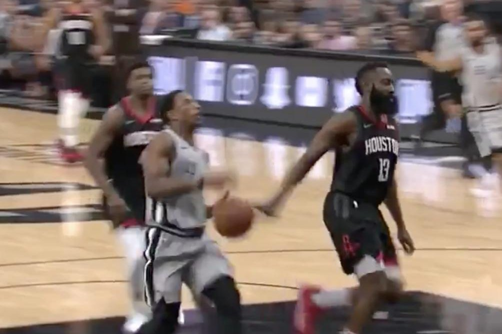 815947e2645c Watch  James Harden gets nonchalant no-look block vs. DeMar DeRozan -  UPI.com
