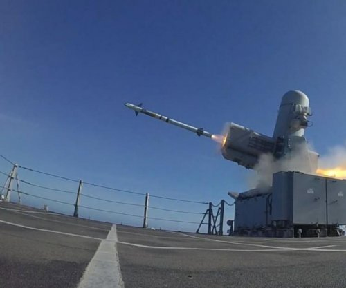 SeaRAM missile launched from littoral combat ship USS Charleston in exercise