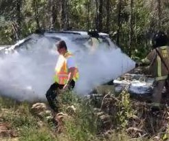 Responders rescue occupants of crashed car swarmed by bees