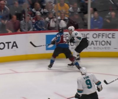 Colorado Avalanche's Gabriel Bourque energizes crowd with big hit