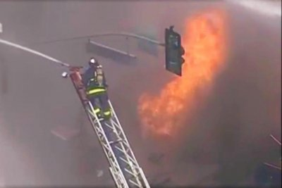 Large fireball burns for 2 hours after SF gas line explosion