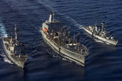 U.S., British naval ships conduct exercises in South China Sea