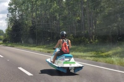 Man rides converted jet ski on road in viral video