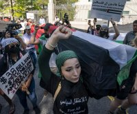 Hundreds gather at Israeli Embassy in Washington, D.C., to protest Gaza airstrikes