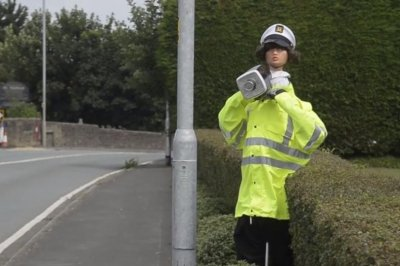British farmer deters speeders with dummy 'scare-cop'