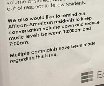 Apartment notice reminds 'African American residents' to lower 'conversation volume'